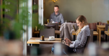 coffee shop and tablet