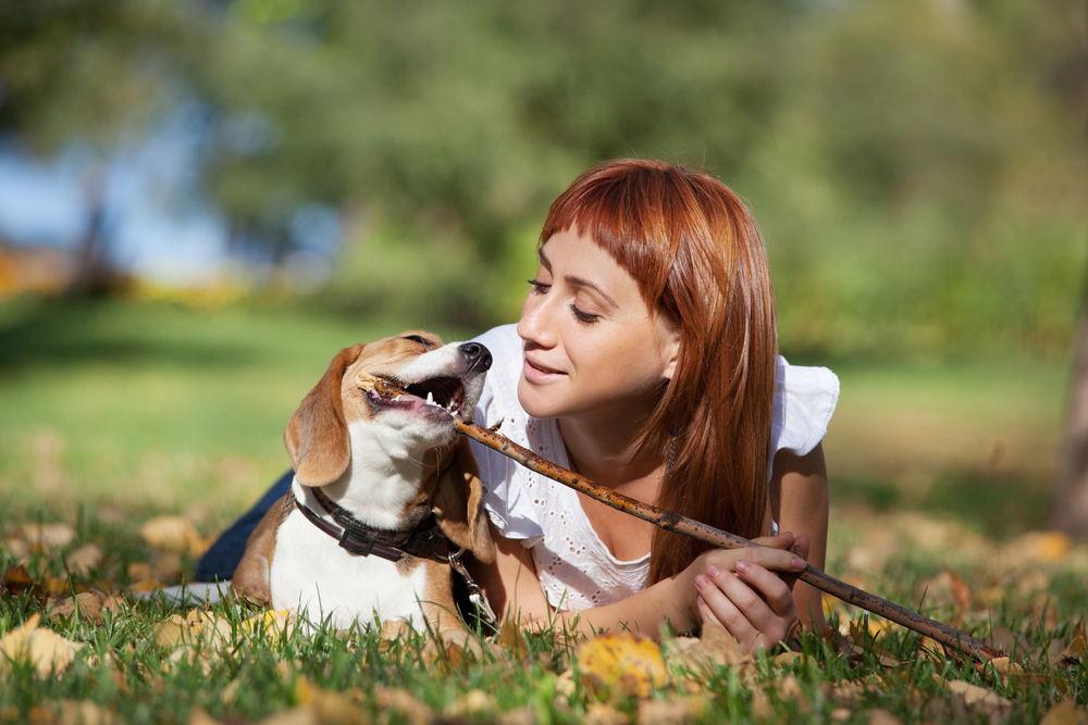 dog and young woman